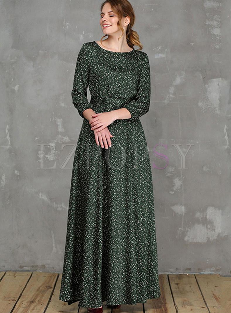 Vintage O-neck Three Quarters Sleeve Big Hem Maxi Dress