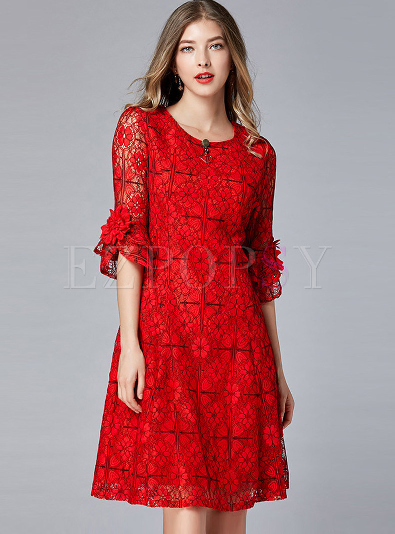 O-neck Lace Flare Half Sleeve Knee-length Skater Dress