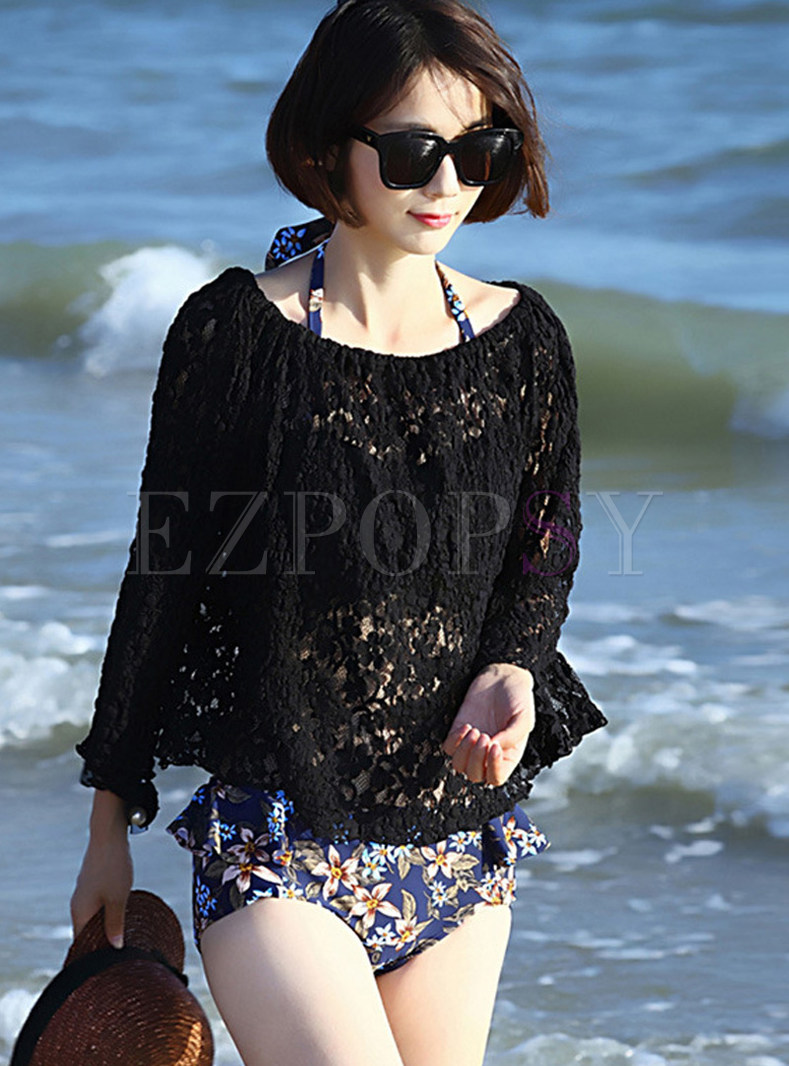 Fashion Color-blocked Print Halter Cover-up Swimwear