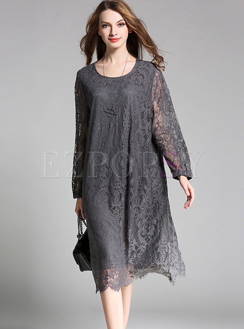 Grey Lace Stitching Crew-neck Knee-length Dress