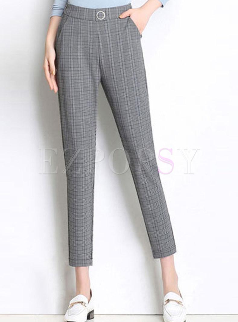 Elastic High Waist Plaid Slim Harem Pants With Metal