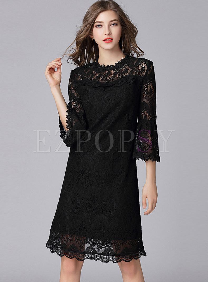 Solid Color Mock Neck Flare Sleeve Lace Dress