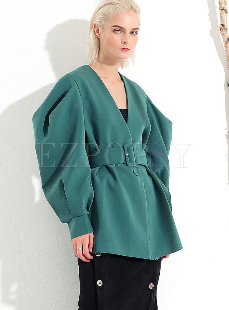 Fashion Green V-neck Bat Sleeve Belted Coat
