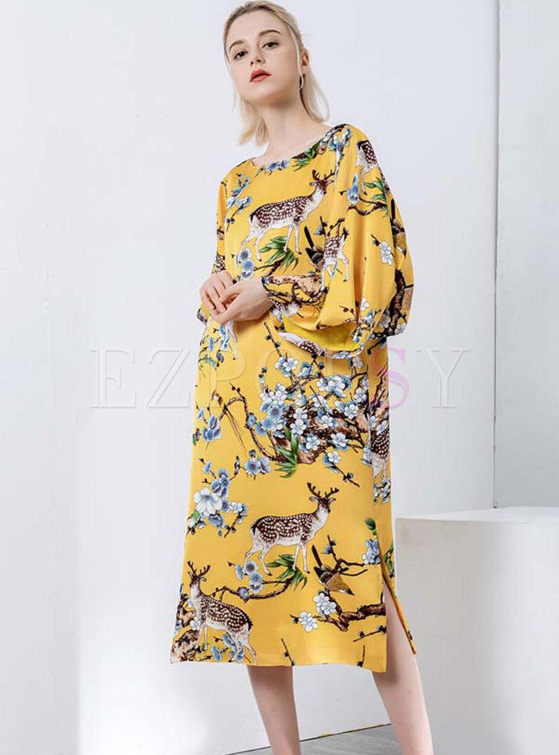 Stylish Yellow Crew-neck Long Sleeve Straight Dress