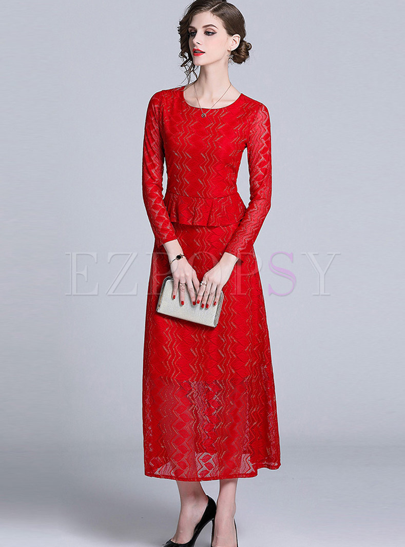 Elegant Long Sleeve Falbala Lace Big Hem Maxi Dress