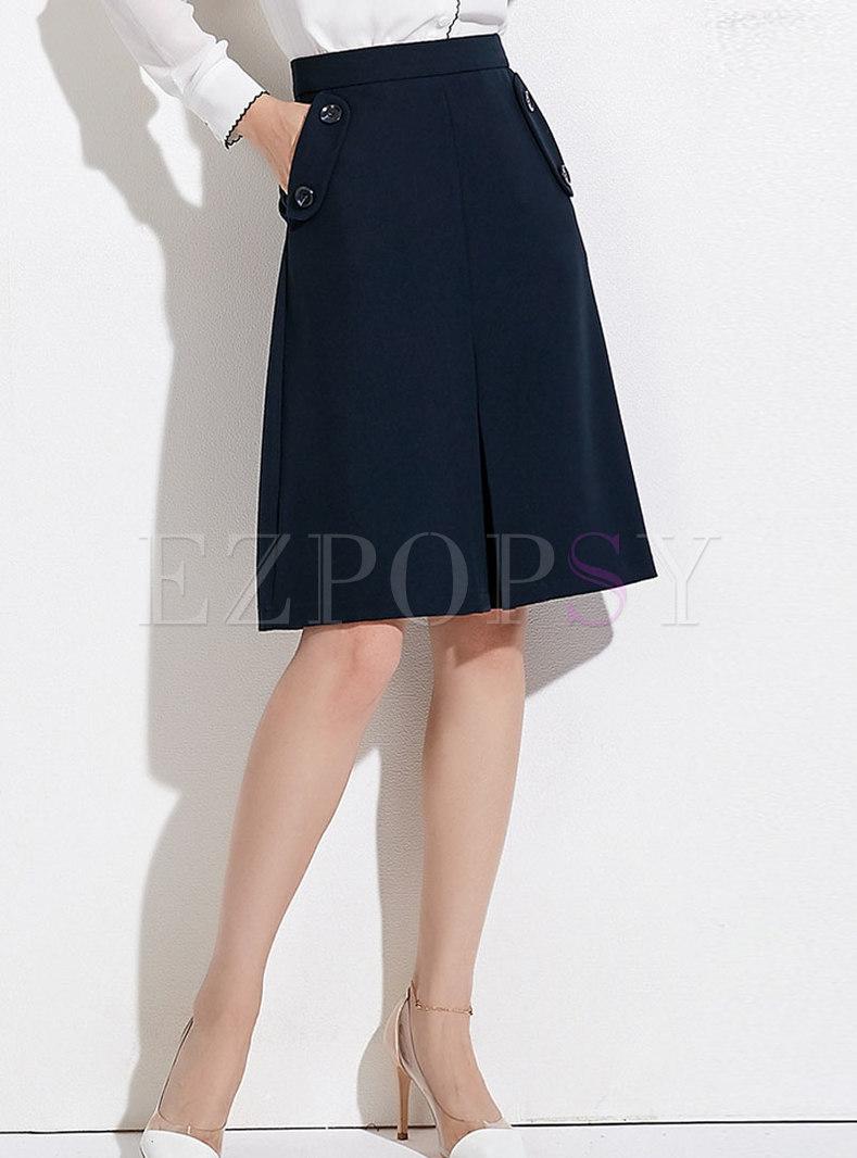 Deep Blue High Waist Pockets A Line Skirt