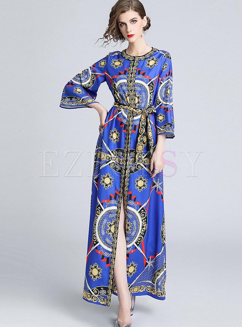 Court O-neck Print Tie-waist Loose Big Hem Dress