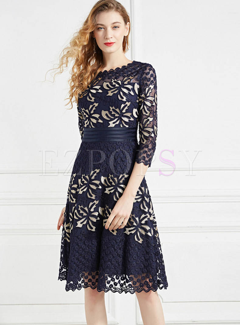 Three Quarters Sleeve Embroidered Mesh Skater Dress