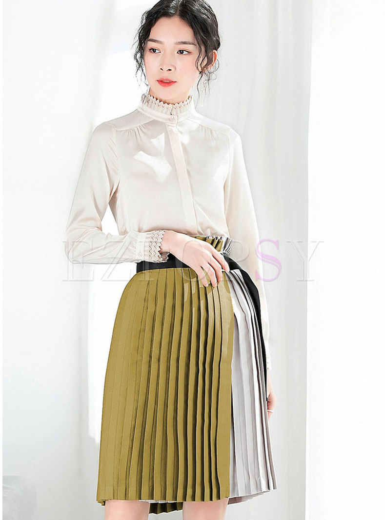 Stylish Long Sleeve Blouse & High-rise A Line Skirt