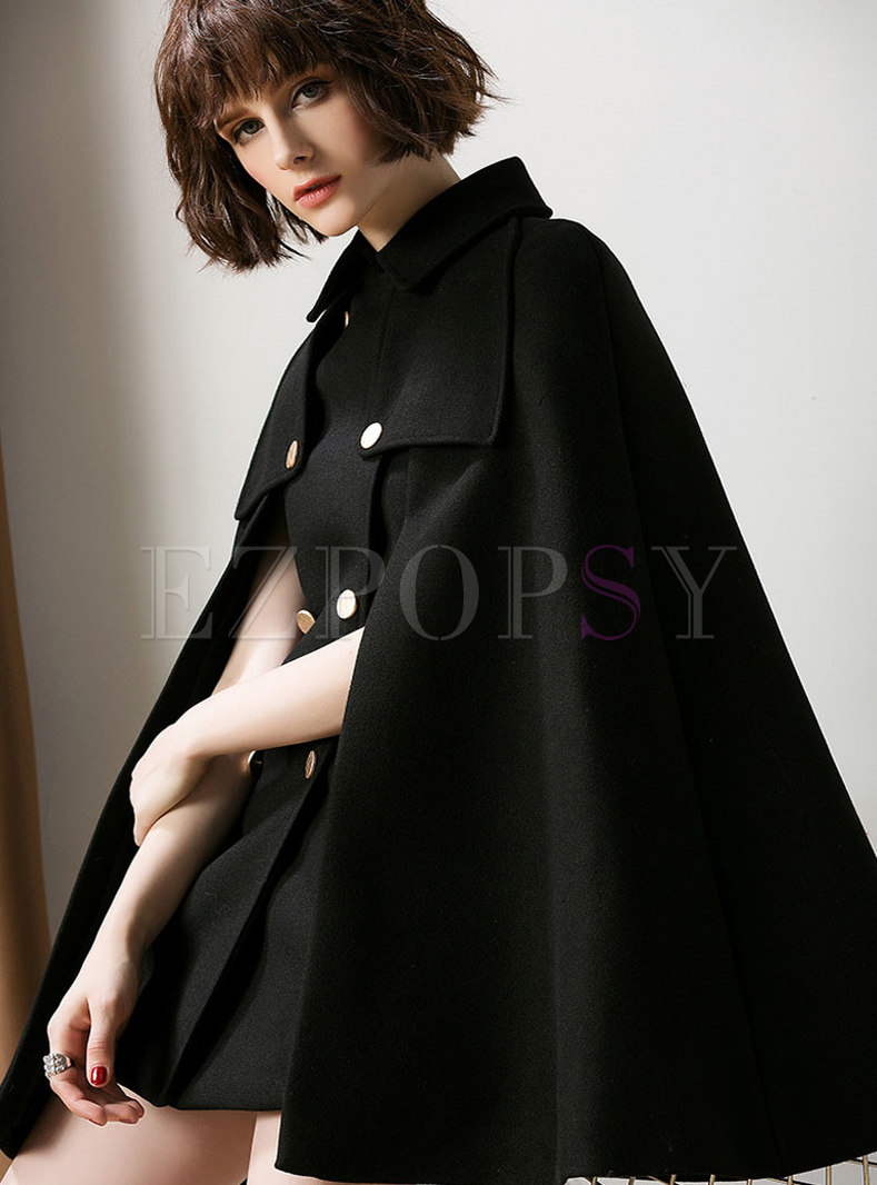 Turn-down Collar Double-breasted Loose Coat