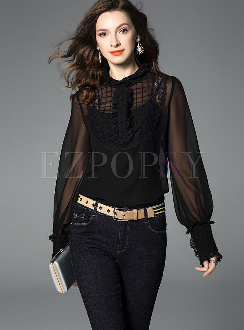 Court Long Sleeve Perspective Silk Blouse With Sling