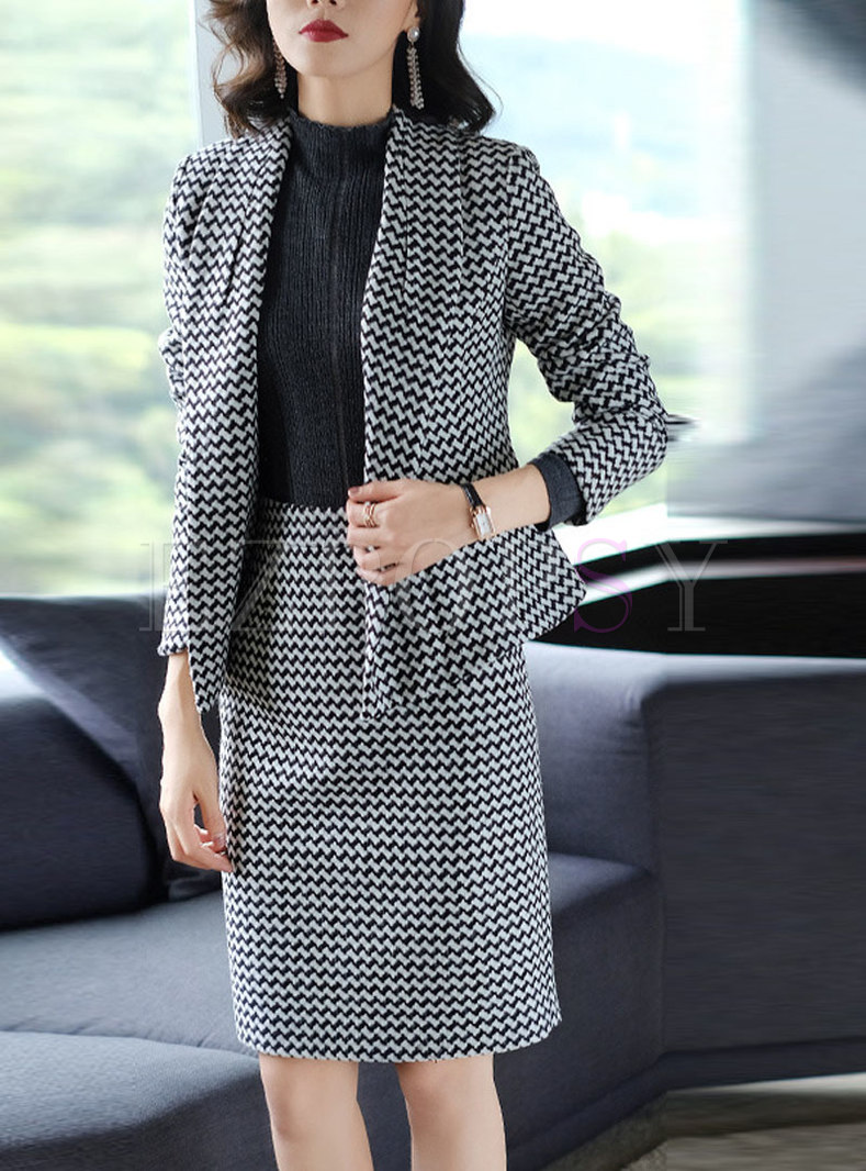 Fashion Work Long Sleeve Coat & Plaid High Waist Skirt