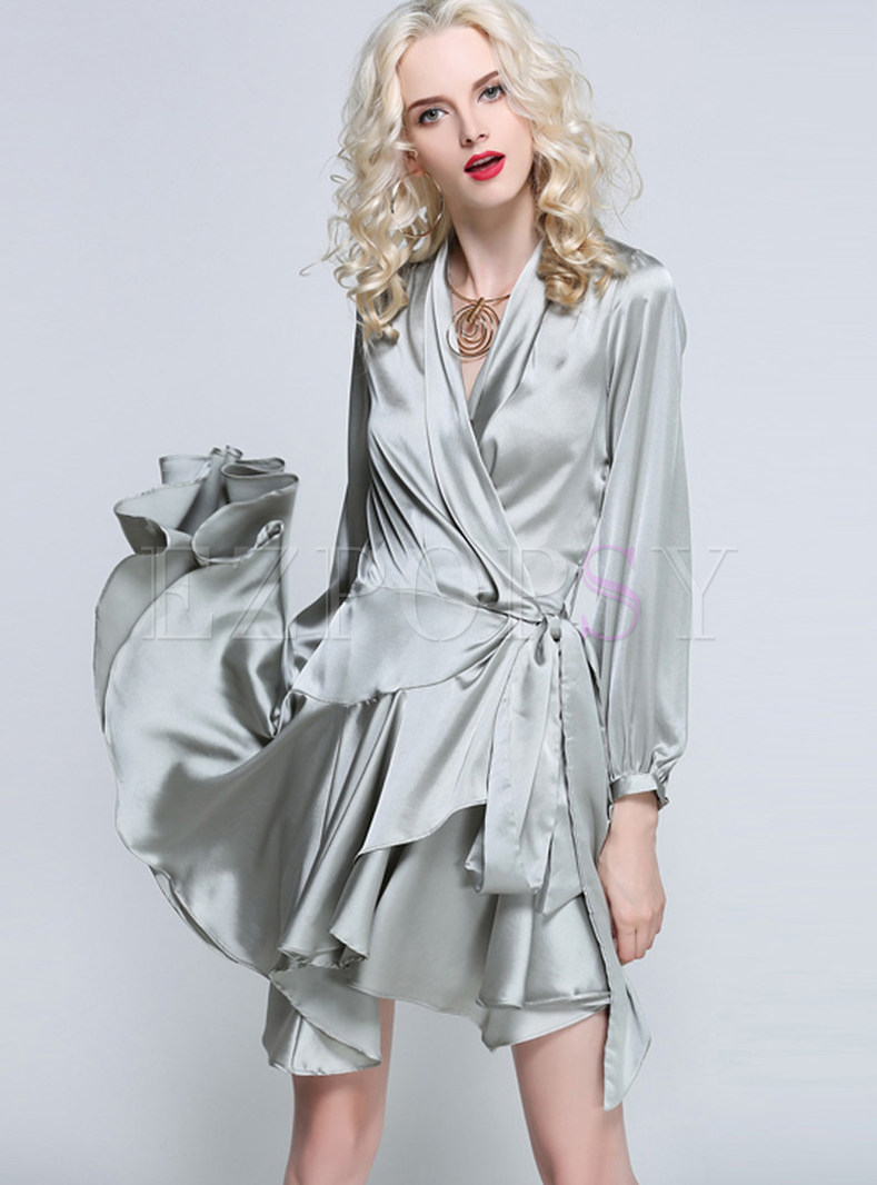 Fashion Solid Color Tie-waist Irregular Skater Dress