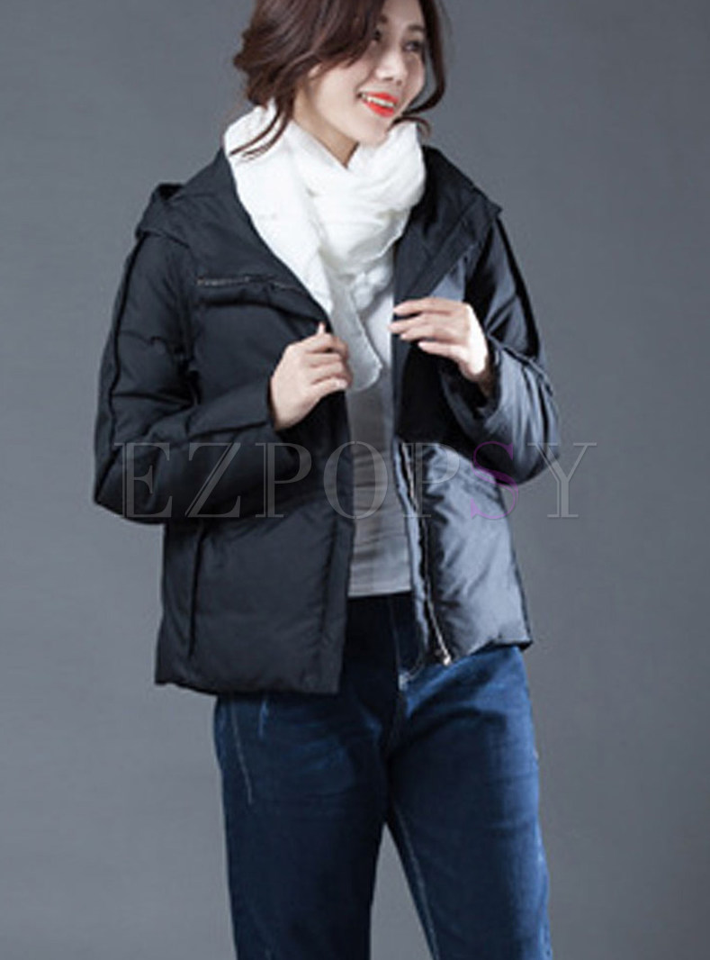 Stylish Solid Color Hooded Cropped Down Coat
