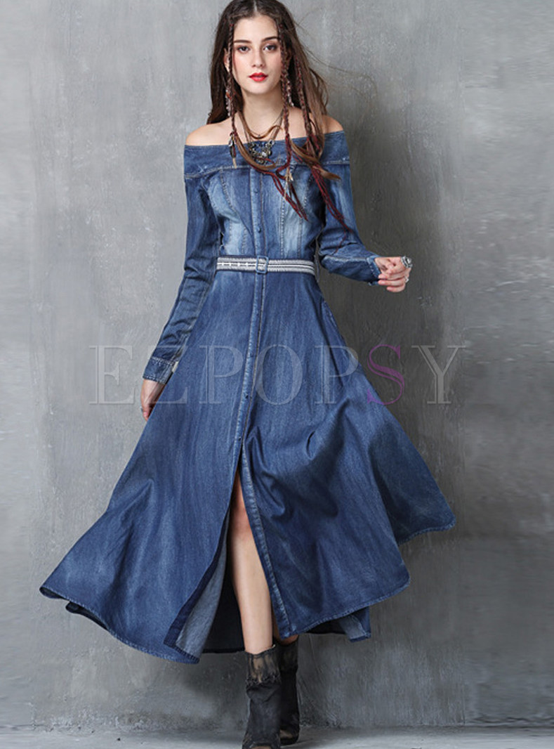 Off Shouder Embroidered Slit Denim Maxi Dress