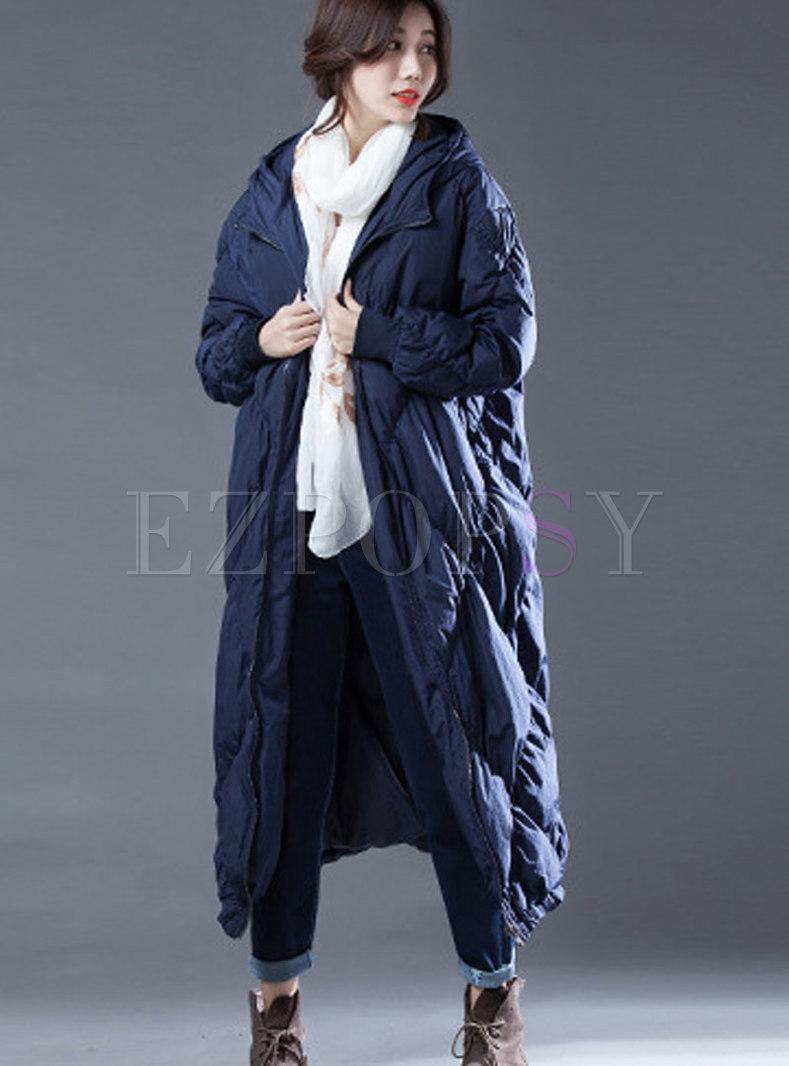 Winter Hooded Plus Size Zipper Long Down Coat