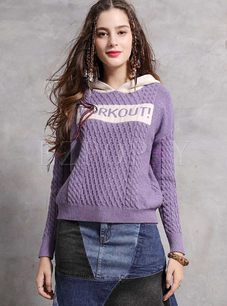 Color-blocked Hooded Letter Print Pullover Sweatshirt