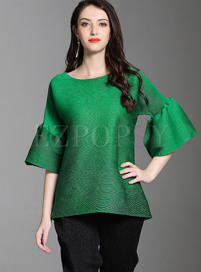 Solid Color O-neck Flare Sleeve Pullover T-shirt