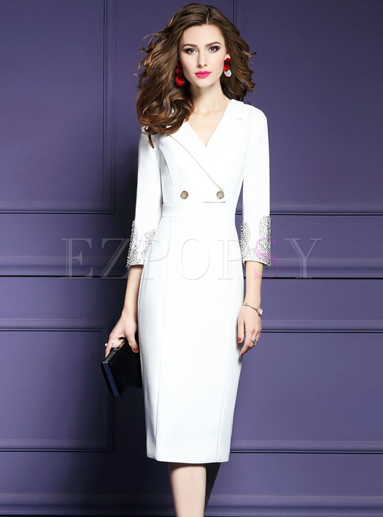 Elegant White Notched Gathered Waist Drilling Bodycon Dress