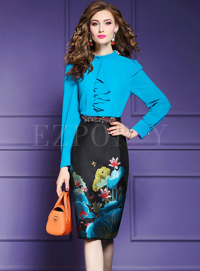 Stylish Color-blocked Print High Waist Bodycon Dress