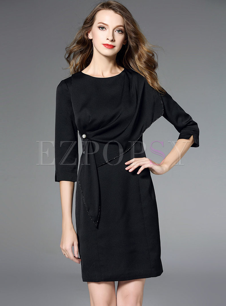 Black Three Quarters Sleeve O-neck Slit Bodycon Dress