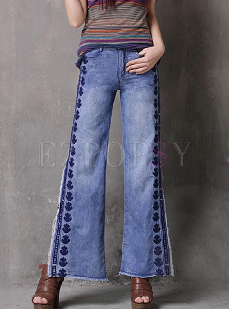 Fashion Embroidered Slit Denim Long Pants