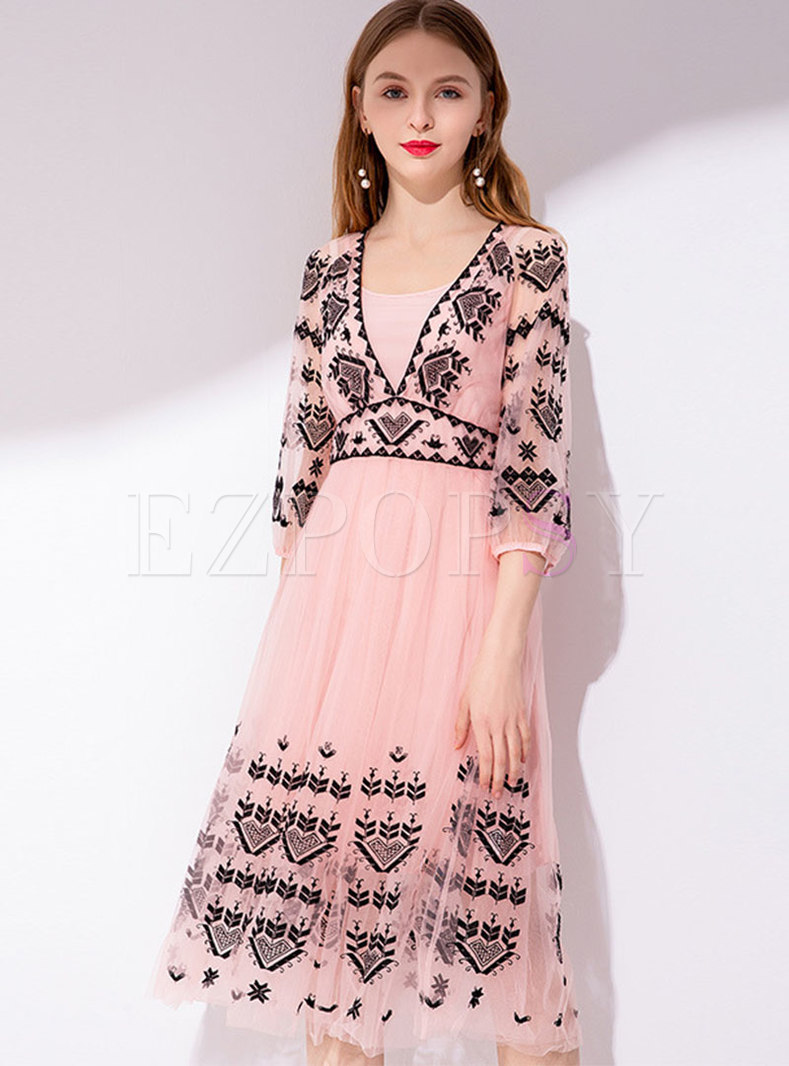 Color-blocked Embroidered High Waist Skater Dress