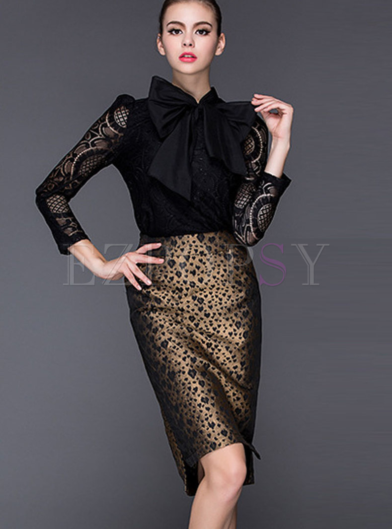 Fashion Black Lace Top & Leopard Wrap Sheath Skirt
