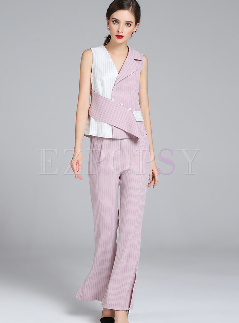 Stylish Sleeveless Hit Color Vest & High Waist Flare Pants