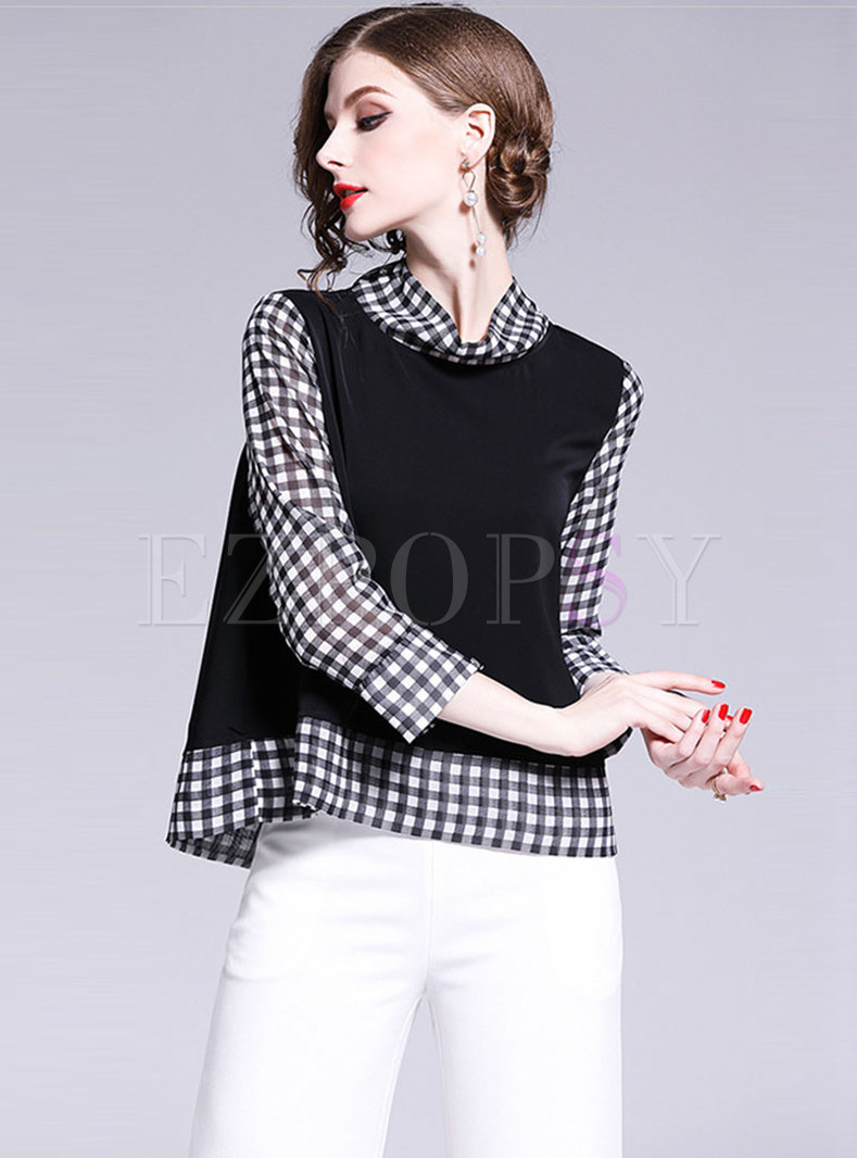 Elegant Grid Splicing Stand Collar Chiffon Blouse