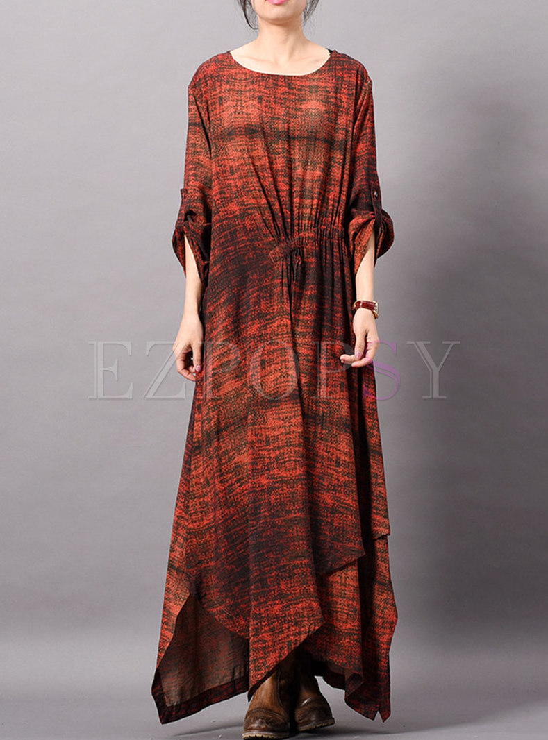 Print O-neck Long Sleeve Asymmetric Maxi Dress