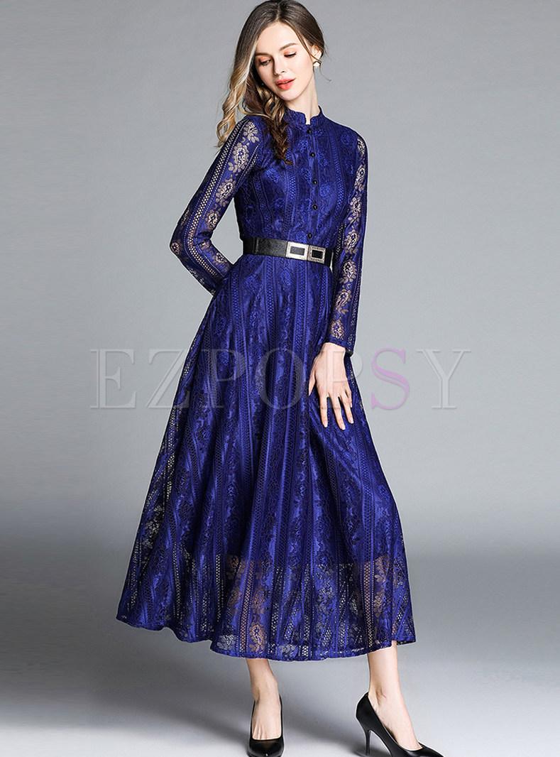 Mock Neck Long Sleeve Lace Maxi Dress