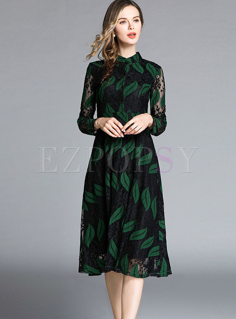 Standing Collar Perspective Hollow Out Lace Dress