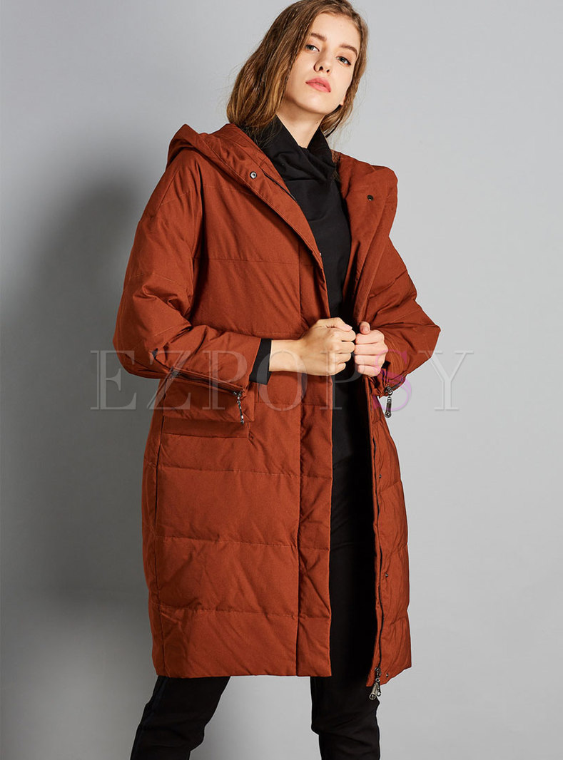 Casual Solid Color Hooded Plus Size Puffer Coat