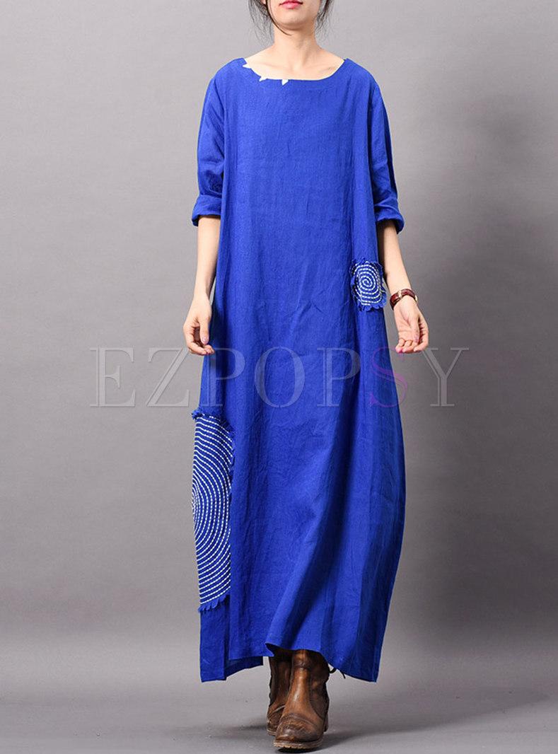 Elegant Splicing O-neck Ankle-length Maxi Dress