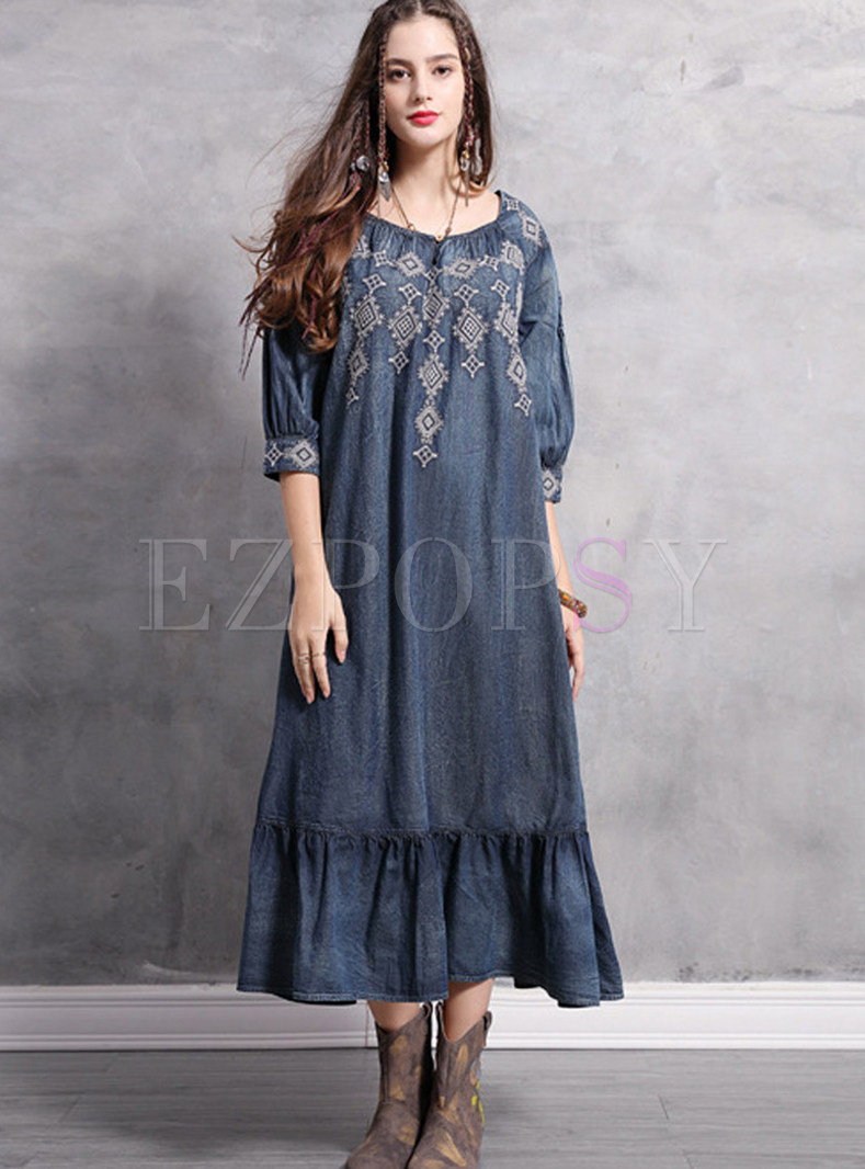 Square Neck Half Sleeve Embroidered Plus Size Dress