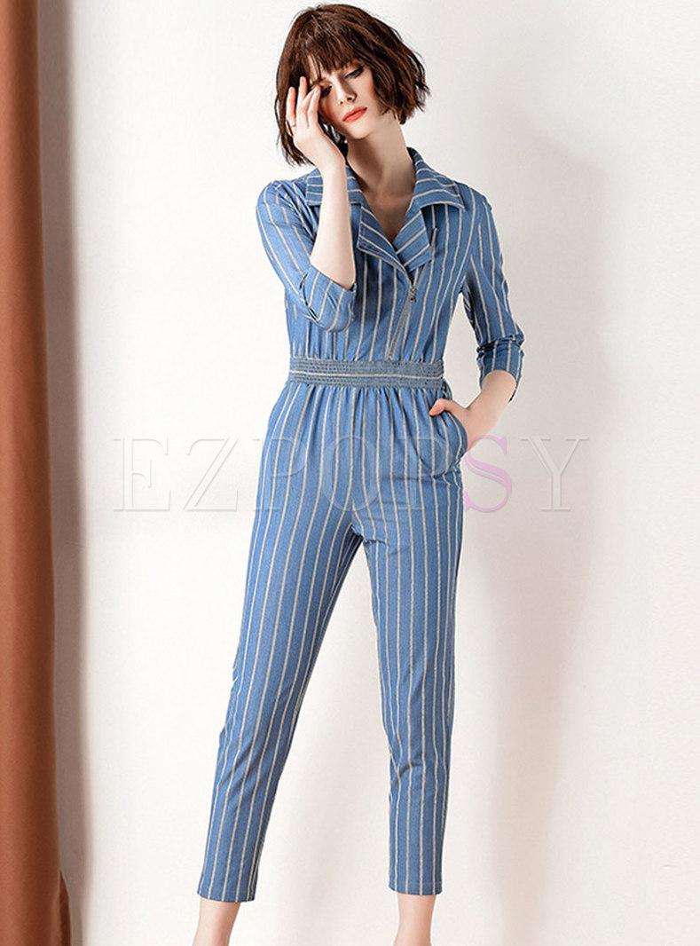 Striped Turn Down Collar Gathered Waist Slim Jumpsuit