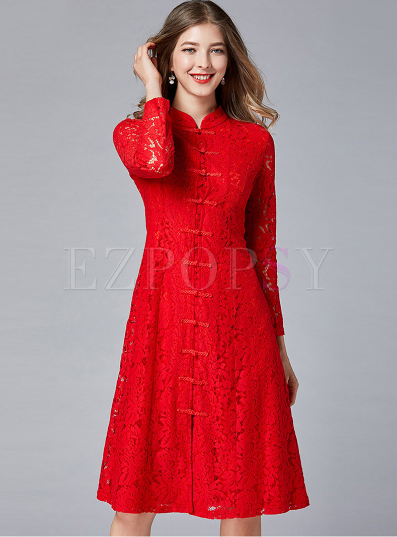 Mandarin Collar Single-breasted Improved Cheongsam Dress