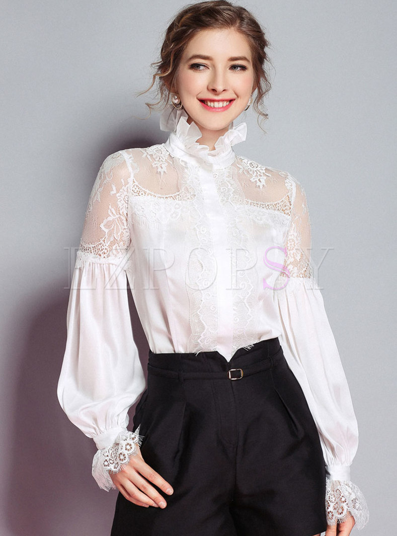 White Tie-neck Bowknot Lace Patchwork Pullover Top