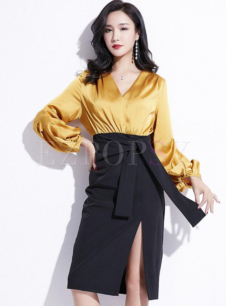 Elegant Color-blocked V-neck Puff Sleeve Belted Slit Bodycon Dress