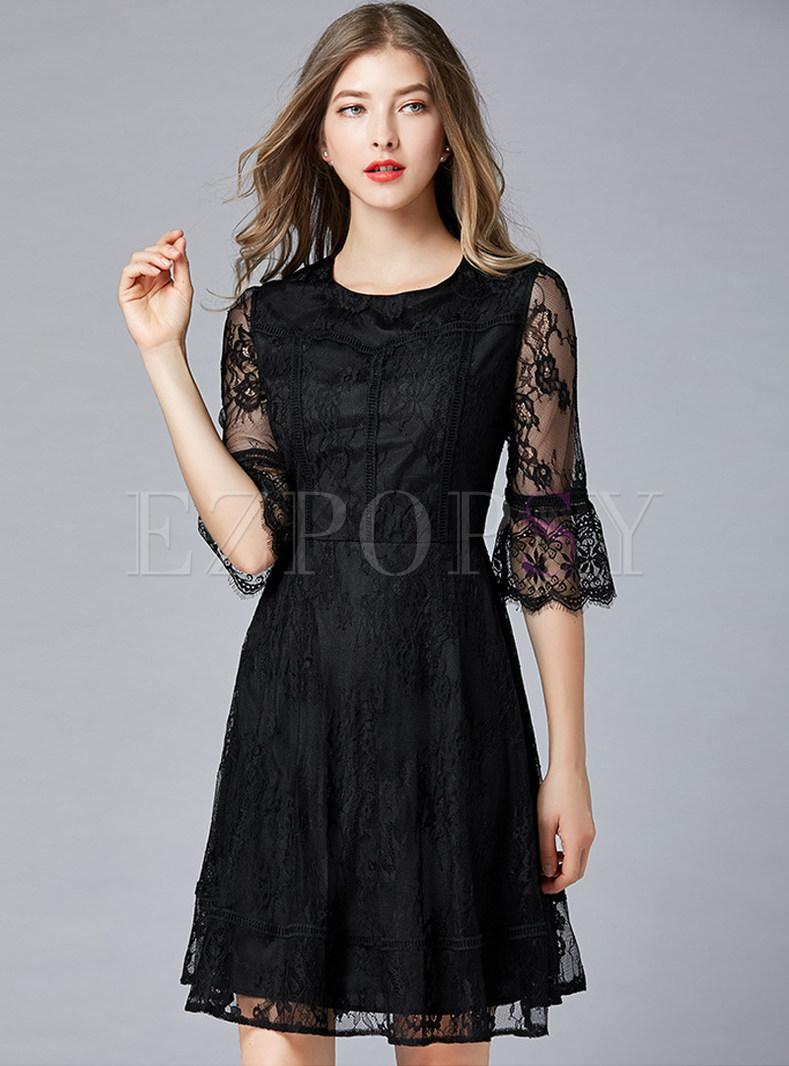 Black Flare Sleeve Plus Size Skater Dress