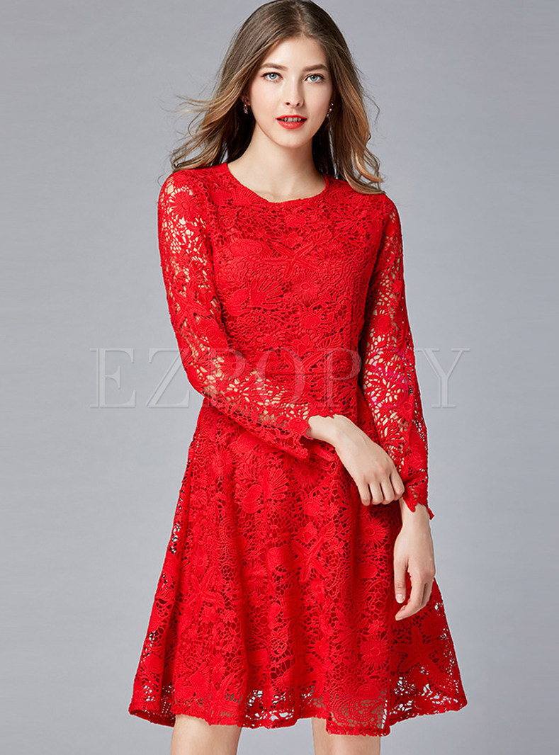 Fashion O Neck Long Sleeve Hollow Out Lace Skater Dress