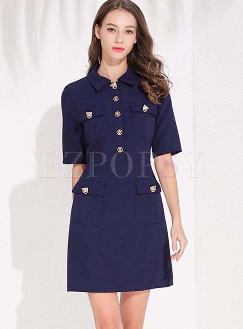 Stylish Pure Color Lapel High Waist Slim Skater Dress