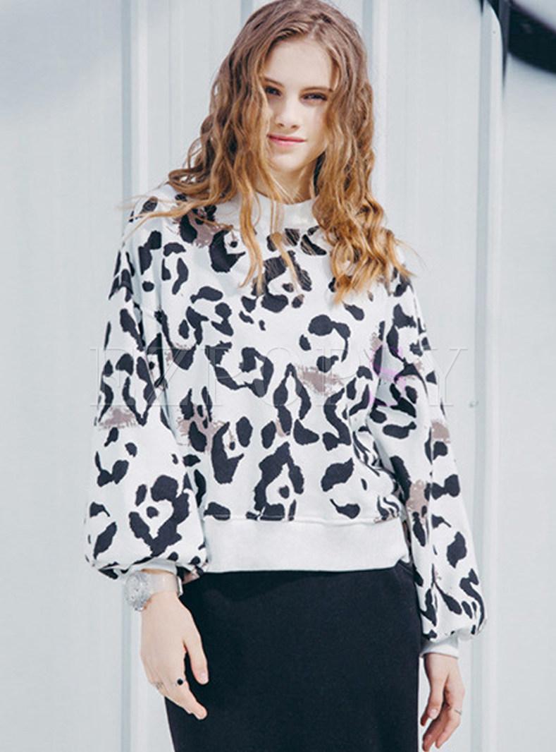 Fashion O-neck Loose Long Sleeve Leopard Sweatshirt