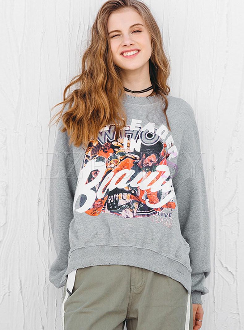 O-neck Loose Print Pullover Slit Cotton Sweatshirt