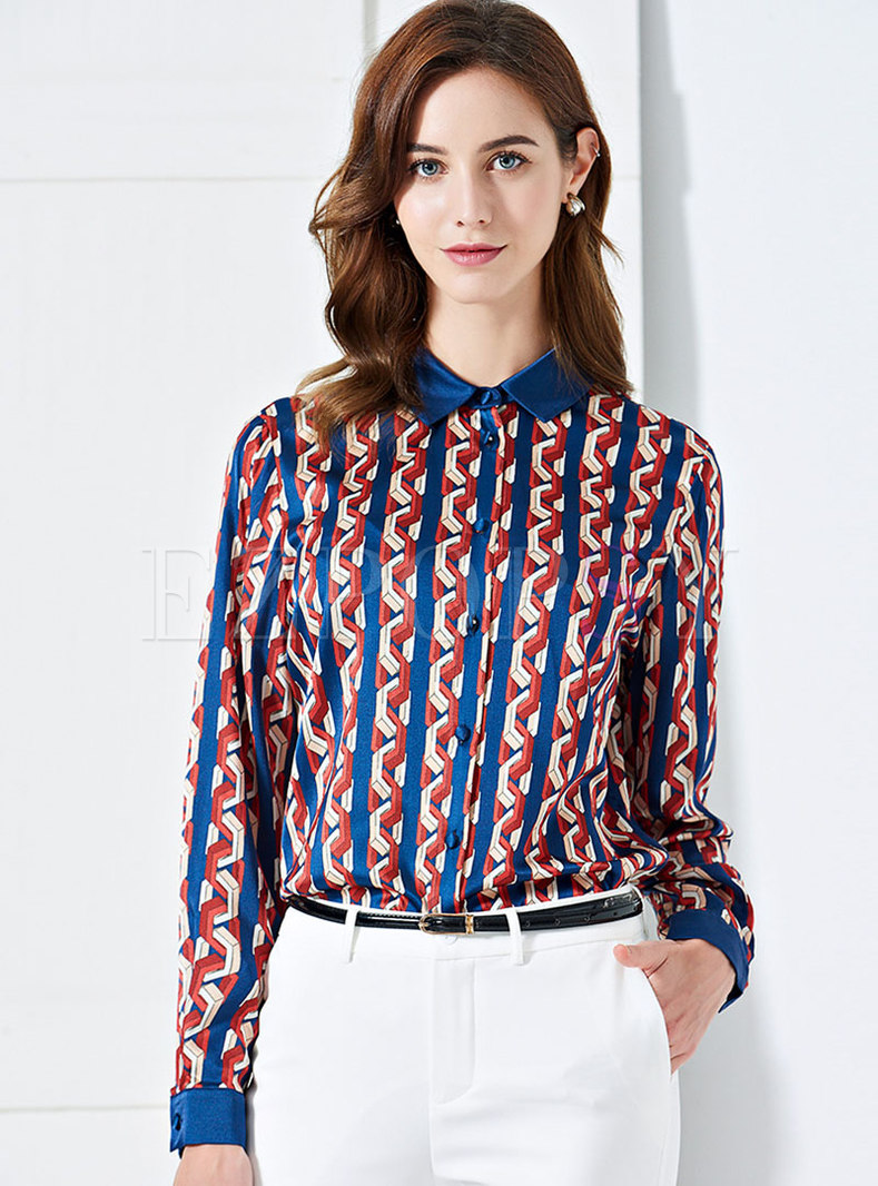 Stylish Color-blocked Print Lapel Single-breasted Blouse