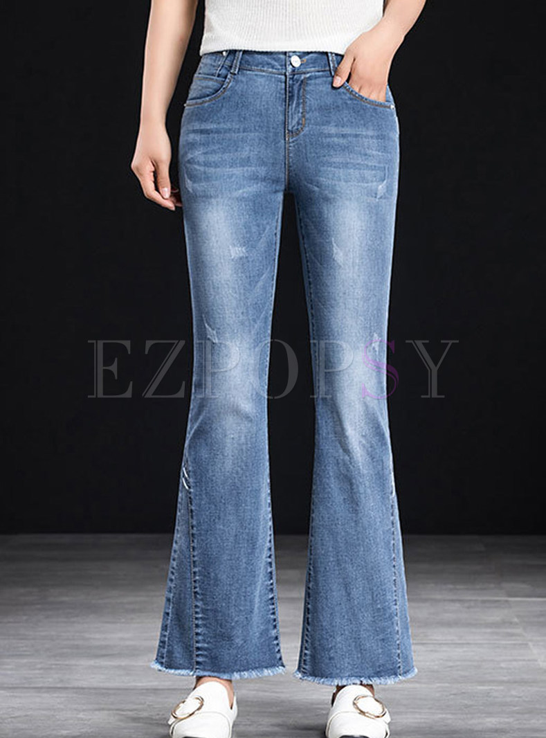 Fashion Slim Rough Selvedge Denim Flare Pants