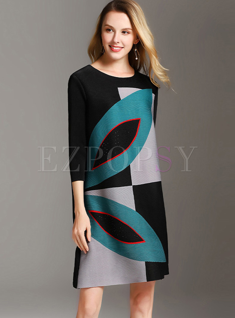 Three Quarters Sleeve Plus Size Print Shift Dress