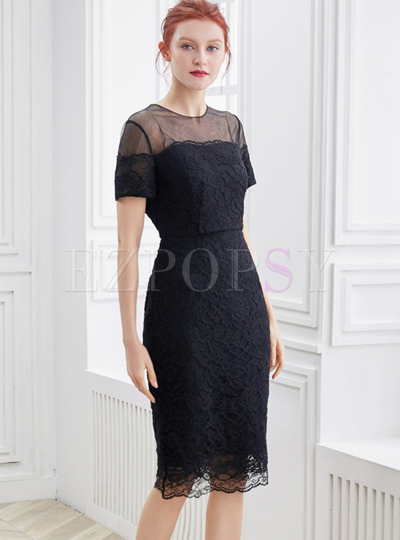 Sexy Perspective O-neck Lace Splicing Bodycon Dress