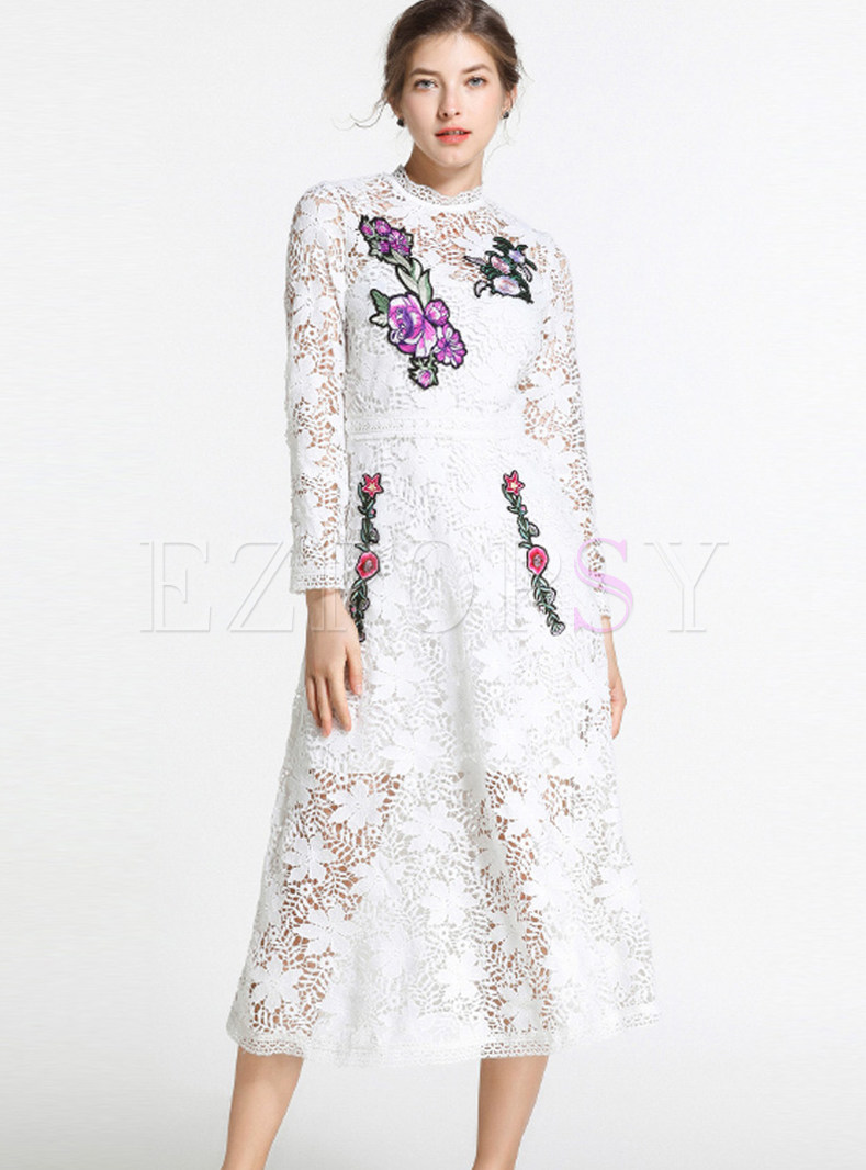 Long Sleeve Lace Openwork Skater Dress With Sling